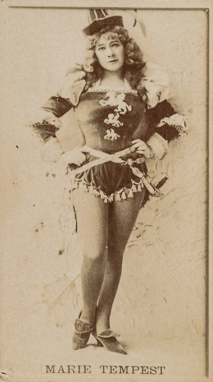Marie Tempest, from the Actresses series issued by Kinney Brothers to promote Sweet Caporal Cigarettes 1890. Dame Mary Susan Etherington, DBE (15 July 1864 – 15 October 1942), known professionally as Marie Tempest, was an English singer and actress. Tempest became a famous soprano in late Victorian light opera and Edwardian musical comedies. Later, she became a leading comic actress and toured widely in North America and elsewhere. She was, at times, her own theatre manager during a career spanning 55 years. She was also instrumental in the founding of the actors' union Equity in Britain.