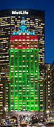 A view of the architectural lighting design at The Helmsley Building on Park Avenue in New York City. The fixtures are LED and are manufactured by Lumen Pulse.