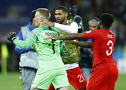 July 3, 2018 - Moscow, Russia - Jordan Pickford of England celebrates the victory after the penalty shootout of the 2018 FIFA World Cup Russia Round of 16 match between Colombia and England at Spartak Stadium on July 3, 2018 in Moscow, Russia. (Credit Image: © Matteo Ciambelli/NurPhoto via ZUMA Press)