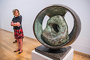 Sphere with inner form in the pavilion room.  Barbara Hepworth: Sculpture for a Modern World opens at Tate Britain -  the first London museum retrospective or five decades of the work of Hepworth (1903-75), one of Britain's greatest artists. This major retrospective opens on 24 June 2015 and will emphasise Hepworth's prominence in the international art world. It highlights the different contexts and spaces in which Hepworth presented her work, from the studio to the landscape. Highlights include: A room dedicated to a series of sculptures Hepworth carved in the 1940s, which are characterised by the dramatic hollowing out of pieces of wood and the painting of the interior spaces she opened up. Works in this room include the famous Pelagos 1946 ('sea' in Greek), which was inspired by a view of the bay of St Ives, Cornwall; Imposing wooden sculptures made from huge logs of the sumptuous tropical hardwood guarea, such as Corinthos 1954-5 – a grand 1 metre x 1 metre sculpture named after the ancient Greek city in which Hepworth summed up the light and landscape of Greece. The unusually large size of guarea pieces allowed Hepworth to experiment with interior spaces through the use of string, spiralling edges, paint or rough carved surfaces to maximise the effect of light; An architectural installation inspired by the Rietveld Pavilion, originally built at the Kröller-Müller Museum, Otterlo in 1965 which housed a display of Hepworth bronzes at its opening. The structure in the exhibition explores how Hepworth presented her works and how she worked on an international stage. Barbara Hepworth: Sculpture for a Modern World is at Tate Britain from 24 June to 25 October 2015.