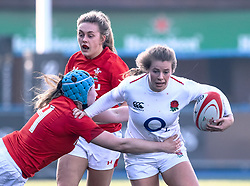 Zoe Harrison of England under pressure from Gwen Crabb of Wales<br /> <br /> Photographer Simon King/Replay Images<br /> <br /> Six Nations Round 3 - Wales Women v England Women - Sunday 24th February 2019 - Cardiff Arms Park - Cardiff<br /> <br /> World Copyright © Replay Images . All rights reserved. info@replayimages.co.uk - http://replayimages.co.uk
