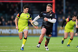 Richard Barrington of Saracens goes on the attack - Mandatory byline: Patrick Khachfe/JMP - 07966 386802 - 05/02/2017 - RUGBY UNION - Allianz Park - London, England - Saracens v Leicester Tigers - Anglo-Welsh Cup.