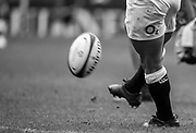 Twickenham, Surrey, United Kingdom. George FORD, put's his foot through the ball, converstion, during the, Old Mutual Wealth Cup, England vs Barbarian's match, played at the  RFU. Twickenham Stadium, on Sunday   28/05/2017England    <br /> <br /> [Mandatory Credit Peter SPURRIER/Intersport Images]