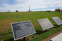 Historic markers and the New York Memorial, Antietam National Battlefield, Sharpsburg, Maryland, USA.