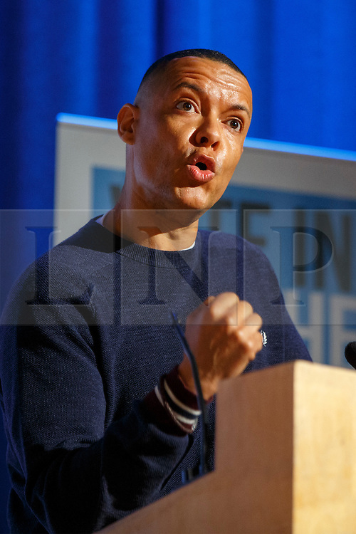 """© Licensed to London News Pictures. 28/05/2016. London, UK. Labour MP CLIVE LEWIS speaking at """"Another Europe is Possible"""" rally at UCL Institute of Education in London, campaigning for a remain vote at the upcoming EU referendum.  Speakers at the event include Shadow Chancellor John McDonnell, former Greek Finance Minister Yanis Varoufakis and Green Party MP Caroline Lucas. Photo credit: Tolga Akmen/LNP"""