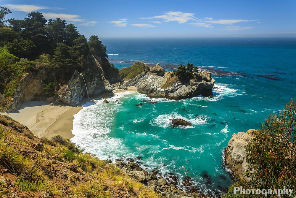 Mcway Falls beach waterfall on the Big Sur Coast of Californai