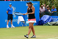Tara Moore (GBR) shows her frustration during her match against Johanna Konta (GBR). The Aegon Open Nottingham 2017, international tennis tournament at the Nottingham tennis centre in Nottingham, Notts , day 2 on Tuesday 13th June 2017.<br /> pic by Bradley Collyer, Andrew Orchard sports photography.