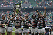 Twickenham, Great Britain.  Andy GOODE, wears the cup as a hat, left to right Marcos AYERZA, Geordan MURPHY, andy GOODE, and Sam VESTY, Seru RABENI and Brett DEACON, after the Tigers win the  Premiership Final against Gloucester Rugby at the RFU Stadium, Surrey England, on Sat. 12.05.2007. [Credit: Peter Spurrier/Intersport Images]