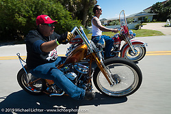 Ray Ray Llanes on his Warren Lane custom Panhead chopper out for a ride with Warren Lane on his stock 1964  Panhead during Daytona Bike Week. FL, USA. March 14, 2014.  Photography ©2014 Michael Lichter.