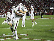 TUSCALOOSA, AL - NOVEMBER 10:  Members of the Texas A&M Aggies celebrate after the game against the Alabama Crimson Tide at Bryant-Denny Stadium on November 10, 2012 in Tuscaloosa, Alabama.  The Aggies beat the Crimson Tide 29-24.  (Photo by Mike Zarrilli/Getty Images)