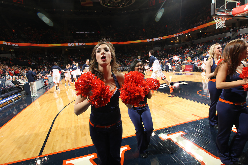 Cheerleaders perform during the game against Wake Forest Wednesday Jan. 08, 2014 in Charlottesville, Va. Virginia defeated Wake Forest 74-51.