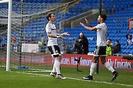 Stefan Johansen of Fullham (l)  celebrates with teammate Ryan Fredericks (r) after he scores his teams first goal to equalise at 1-1. The Emirates FA Cup, 3rd round match, Cardiff city v Fulham at the Cardiff city stadium in Cardiff, South Wales on Sunday 8th January 2017.<br /> pic by Andrew Orchard, Andrew Orchard sports photography.