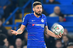 January 24, 2019 - London, England, United Kingdom - Chelsea forward Olivier Giroud doesn't agree with Referee Martin Atkinson decision during the Carabao Cup match between Chelsea and Tottenham Hotspur at Stamford Bridge, London on Thursday 24th January 2019. (Credit Image: © Mark Fletcher/NurPhoto via ZUMA Press)