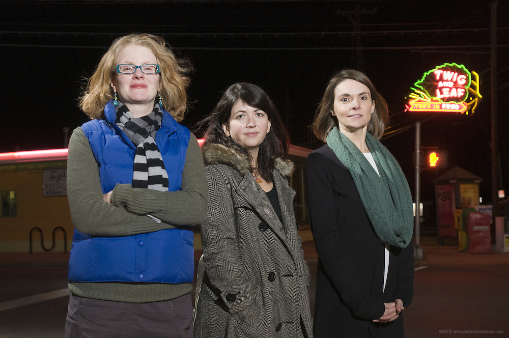 Rachel M. Kennedy, Anna Maas and Shellie Nitche, photographed Tuesday, Feb. 15, 2011 across from Twig and Leaf at the Douglas Loop in Louisville, Ky. (Photo by Brian Bohannon)