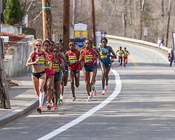 2014 Boston Marathon: lead pack of elite women led by Shalane Flanagan