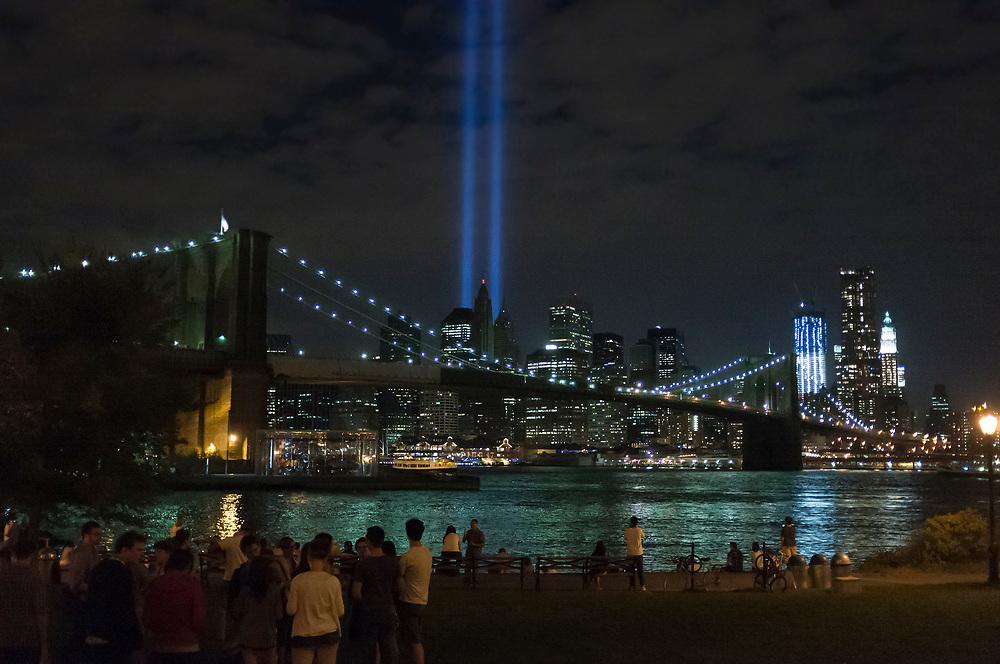 10 year anniversary seen from the Brooklyn Bridge Park.