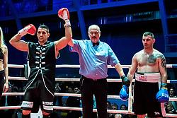 07.04.2018, Erste Bank Arena, Wien, AUT, Bounce Fight Night, Mittelgewicht, Marcos Nader (AUT) vs Darko Knezevic (SRB), im Bild v.l. Marcos Nader (AUT), Ringrichter Ernst Salzgeber, Darko Knezevic (SRB) // during Middleweight, with the fight betweeb Marcos Nader of Austria vs Darko Knezevic of Serbia of the Bounce Fight Night at the Erste Bank Arena in Wien, Austria on 2018/04/07. EXPA Pictures © 2018, PhotoCredit: EXPA/ Sebastian Pucher