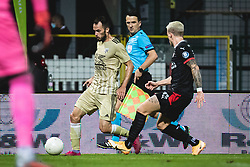 Žiga Kous of Mura and Philipp Max of PSV Eindhoven during football match between NS Mura and PSV Eindhoven in Third Round of UEFA Europa League Qualifications, on September 24, 2020 in Stadium Fazanerija, Murska Sobota, Slovenia. Photo by Blaz Weindorfer / Sportida