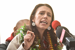 August 26, 2017 - Auckland, Auckland, New Zealand - Labor Party leader Jacinda Ardern announces policy at her party's Pacific launch at Mangere in South Auckland on Aug 26, 2017. The New Zealand general election is scheduled to be held on  23 September 2017 . The current government is National Party. (Credit Image: © Shirley Kwok/Pacific Press via ZUMA Wire)