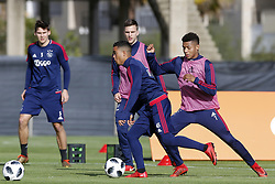 (L-R), Maximilian Wober of Ajax, Justin Kluivert of Ajax, Joel Veltman of Ajax, David Neres of Ajax during a training session of Ajax Amsterdam at the Cascada Resort on January 10, 2018 in Lagos, Portugal