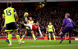 Arsenal's Lucas Torreira scores his side's first goal of the game during the Premier League match at the Emirates Stadium, London.