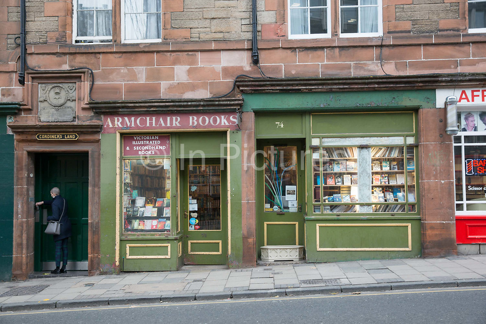 Exteroir of Armchair books on the 9th November 2018 in Edinburgh, Scotland in the United Kingdom. Armchair Books is a secondhand and antiquarian book shop in Edinburghs West Port.
