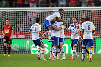 FOOTBALL - FRENCH CHAMPIONSHIP 2012/2013 - L1 - STADE RENNAIS v OLYMPIQUE LYONNAIS - 11/08/2012 - PHOTO PASCAL ALLEE / HOT SPORTS / DPPI - JOY YOANN GOURCUFF AFTER HIS GOAL. HE IS CONGRATULATED BY OL PLAYERS