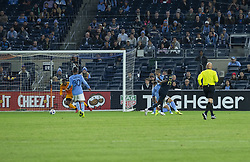 October 31, 2018 - New York, New York, United States - Cory Burke (19) of Philadelphia Union shoots on goal during knockout round game against NYCFC at Yankees stadium NYCFC won 3 - 1  (Credit Image: © Lev Radin/Pacific Press via ZUMA Wire)