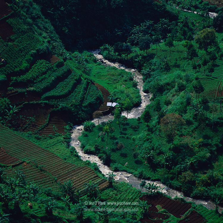 Citarum river source, Mount Wayang (Malabar), Pangalengan area, West java, Indonesia.