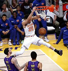 January 4, 2019 - Los Angeles, California, U.S - New York Knicks' KEVIN KNOX (20) dunks during an NBA basketball game between Los Angeles Lakers and New York Knicks. New York won 119- 112. (Credit Image: © Ringo Chiu/ZUMA Wire)