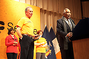 New York, NY- January 16:  l to r: NYC Mayor Michael Bloomberg and U.S. Congressman Charles Rangel at the New York City Service Program in Honor of Martin Luther King Jr. Day held at the Mirabel Sisters Campus in West Harlem, New York City. Photo Credit: Terrence Jennings