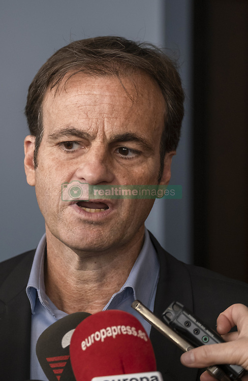 March 28, 2019 - Barcelona, catalonia, Spain - Jaume Asens is seen speaking during a press conference..Jaume Asens, lawyer and city councillor, has received a testimony of a racist aggression inside one of Ryanar's flights to David Lawrence who was a witness and author of the videographic record of the verbal aggression. David Lawrence is in Barcelona invited by the City Council which will be presented as an accusation with the demand that the aggressor will be judged in Catalonia as determined by European protocols. (Credit Image: © Paco Freire/SOPA Images via ZUMA Wire)