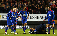Photo: Chris Ratcliffe.<br />Charlton Athletic v Manchester United. The Barclays Premiership. 19/11/2005.<br />Wayne Rooney, Alan Smith, Rio Ferdinand and John O'Shea look lost without Roy Keane