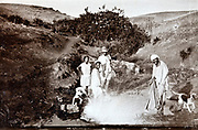 biblical outdoors scene with Western and Moroccan people Morocco 1930s