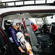 Ellen Kappus (foreground) and Heather Goodrich (background) get ready to ski some runs off of Teton Pass near Wilson Wyoming.