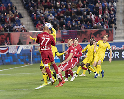 STYLEPREPENDDaniel Royer (77) of Red Bulls & Artur (8) of Columbus Crew SC fight for ball during 2nd leg MLS Cup Eastern Conference semifinal game at Red Bul Arena Red Bulls won 3 - 0 agregate 3 - 1 and progessed to final  (Credit Image: © Lev Radin/Pacific Press via ZUMA Wire)