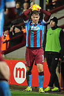 Scott Laird of Scunthorpe United takes throw in  during the Sky Bet League 1 match between Scunthorpe United and Wigan Athletic at Glanford Park, Scunthorpe, England on 2 January 2016. Photo by Ian Lyall.