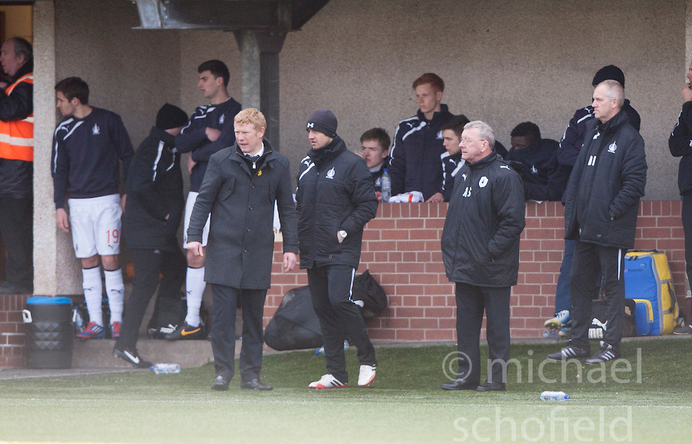 Falkirk's bench after Phil Roberts second yellow card from ref George Salmond.<br /> Alloa Athletic 3 v 0 Falkirk, Scottish Championship game played today at Alloa Athletic's home ground, Recreation Park.<br /> © Michael Schofield.