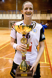 Ana Gros with trophy at last 10th Round handball match of Slovenian Women National Championships between RK Krim Mercator and RK Olimpija, on May 15, 2010, in Galjevica, Ljubljana, Slovenia. Olimpija defeated Krim 39-36, but Krim became Slovenian National Champion. (Photo by Vid Ponikvar / Sportida)