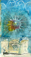 """Ancient Sun illustration in a mixed medium collage.<br /> :::<br /> """"Nothing is harder to understand than a symbolic work. A symbol always transcends the one who makes use of it and makes him say in reality more than he is aware of expressing.""""<br /> ― Albert Camus"""