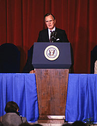 United States President George H.W. Bush makes remarks at the swearing-in ceremony for US Secretary of the Interior Manuel Lujan Jr. at the Department of Interior Auditorium in Washington, D.C. on February 8, 1989.Credit: Ron Sachs / CNP /ABACAPRESS.COM