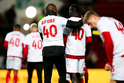 Kalifa Cisse and Famara Diedhiou as Bristol City wear special warm up shirts in tribute to the Afobe family following the passing of Benik Afobe's baby daughter Amora, aged 2 - Rogan/JMP - 10/12/2019 - Ashton Gate Stadium - Bristol, England - Bristol City v Milwall FC - Sky Bet Championship.