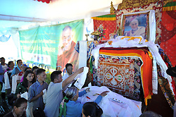 July 6, 2018 - Kathmandu, NP, Nepal - Tibetan people offering rituals towards the poster of Dalai Lama during 83rd birthday celebration of the exiled spiritual leader the Dalai Lama in Lalitpur, Nepal on Friday, July 06, 2018. (Credit Image: © Narayan Maharjan/NurPhoto via ZUMA Press)