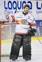 Goalkeeper of Jesenice Dov Grumet-Morris at 38th Round of EBEL league  ice hockey match between HDD Tilia Olimpija Ljubljana and HK Acroni Jesenice, on January 1, 2010, in Arena Tivoli, Ljubljana, Slovenia. (Photo by Vid Ponikvar / Sportida)