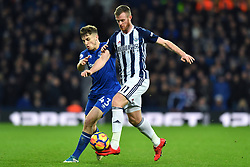 Everton's Jonjoe Kenny and West Bromwich Albion's Chris Brunt (right) in action