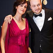 NLD/Amsterdam/20131018 - Inloop Televiziergala 2013, Janine Abbring en Arjen Lubach