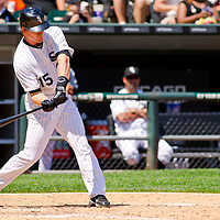 Chicago, IL - June 05, 2011:  Chicago White Sox, Gordon Beckham (15), bats against the Detroit Tigers at U.S. Cellular Field on June 5, 2011 in Chicago, IL.