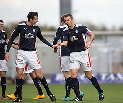 Falkirk's David McCracken celebrates after scoring their fifth goal.<br /> Falkirk 6 v 0 Cowdenbeath, Scottish Championship game played at The Falkirk Stadium, 25/10/2014.