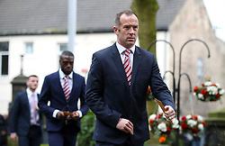 Stoke City's Charlie Adam arrives for the funeral service for Gordon Banks at Stoke Minster.