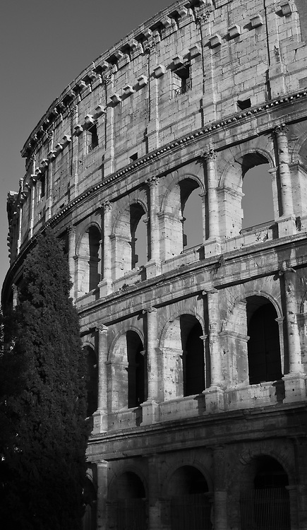Black & White image of the Colosseum.